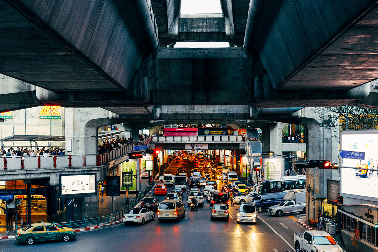 Central Bangkok, Skytrain looking southward